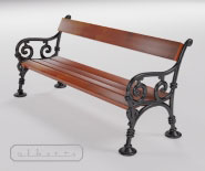 Park and garden bench with cast iron - WIEN model 101b